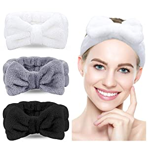 Spa Headband - 3 Pack Bow Hair Band Women Facial Makeup Head Band Soft Coral Fleece Head Wraps For Shower Washing Face(Multicolored C)