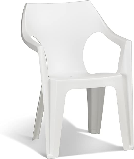 Keter - Silla de jardín exterior Dante High Back, Color blanco: Amazon.es: Jardín