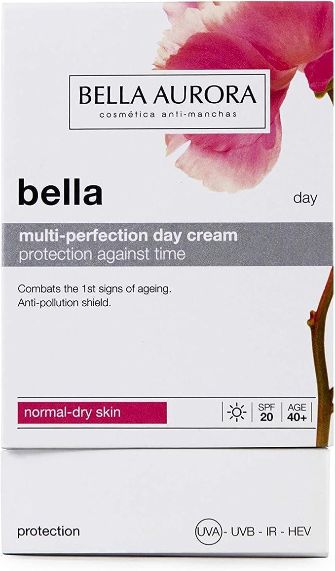 Bella Aurora Bella Crema Facial Día Hidratante Mujer Anti-Edad para Piel Normal o Seca Tratamiento para la Cara Anti-Manchas SPF 20, 50 ml: Amazon.es: Belleza