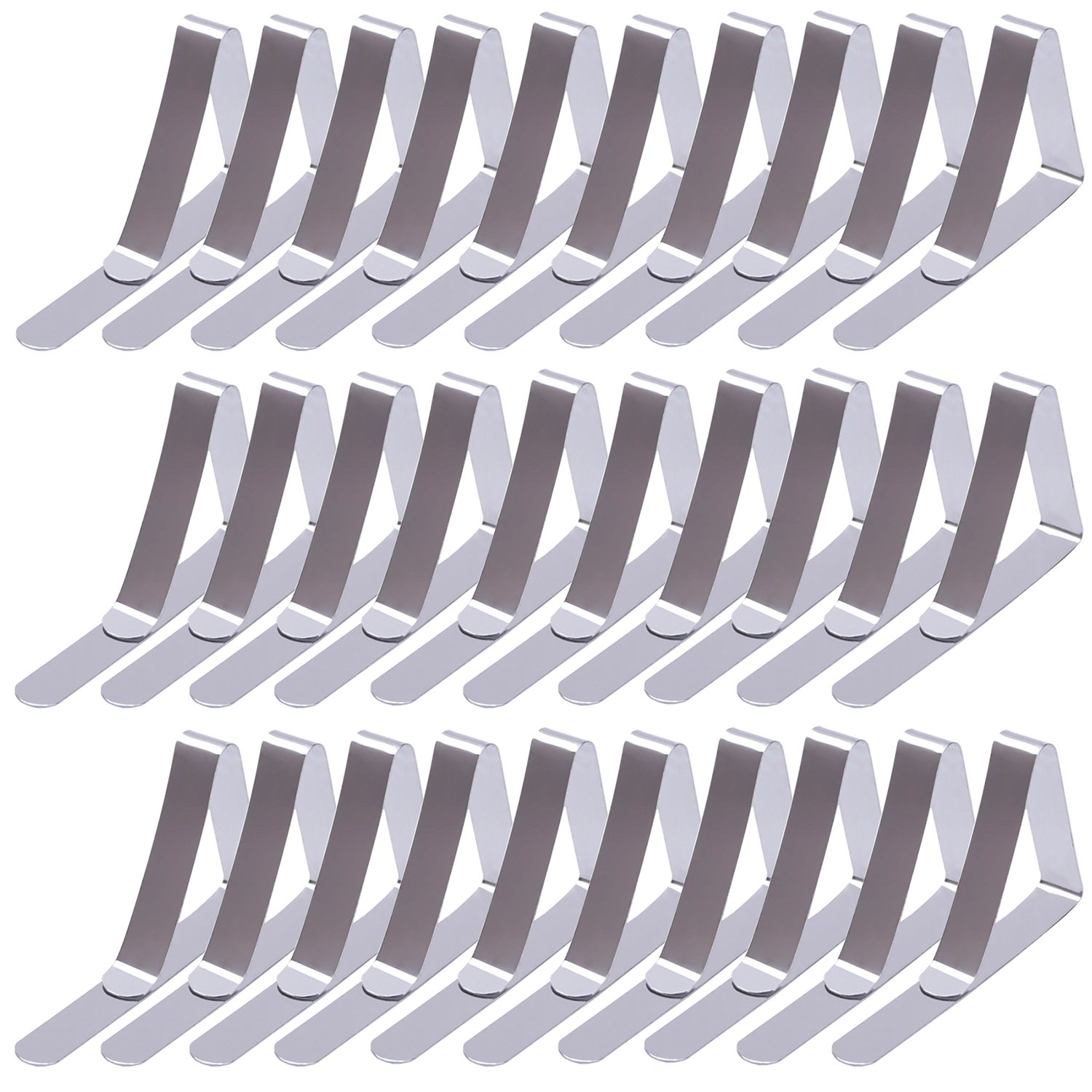 MOT Global Stainless Steel Tablecloth Clips Table Cloth Clamps for 1.77'' Thick Tables (Silver, Pack of 30)