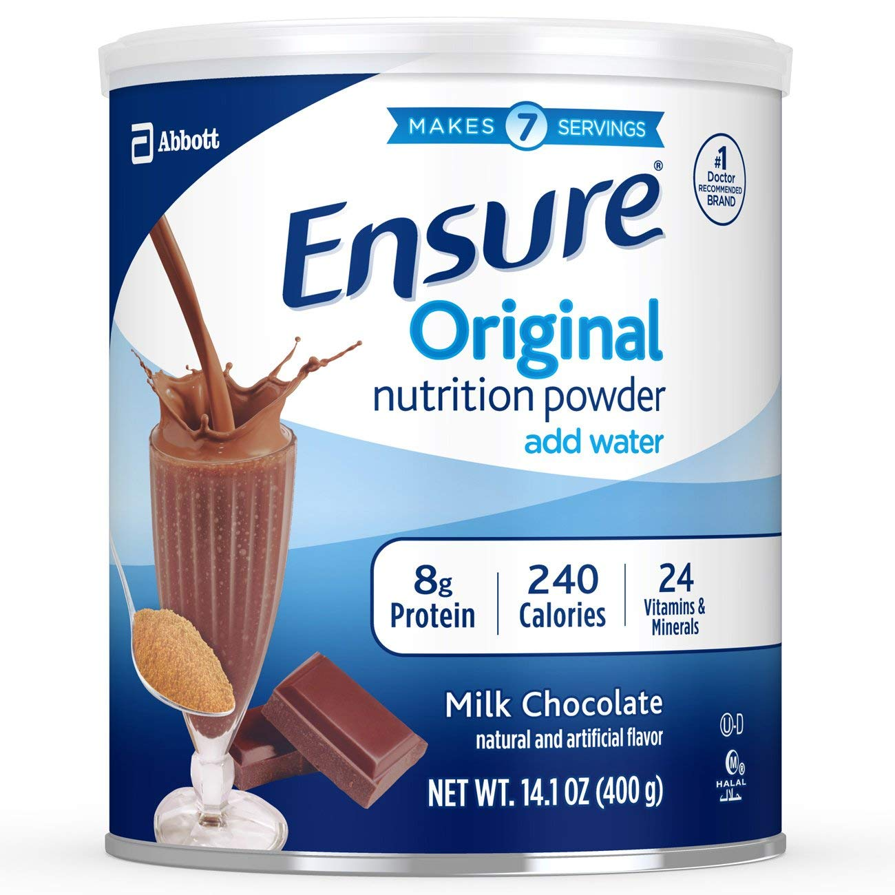Ensure Original Nutrition Shake Powder - Pack of 3 Jars - 14.1 oz per Jar - Milk Chocolate - Meal Replacement Shake with 8 g of Protein