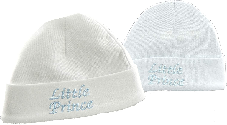 Glamour Girlz Baby Boys 2 Pack Cotton Beanie Turn Up Hat Newborn White Blue Little Prince