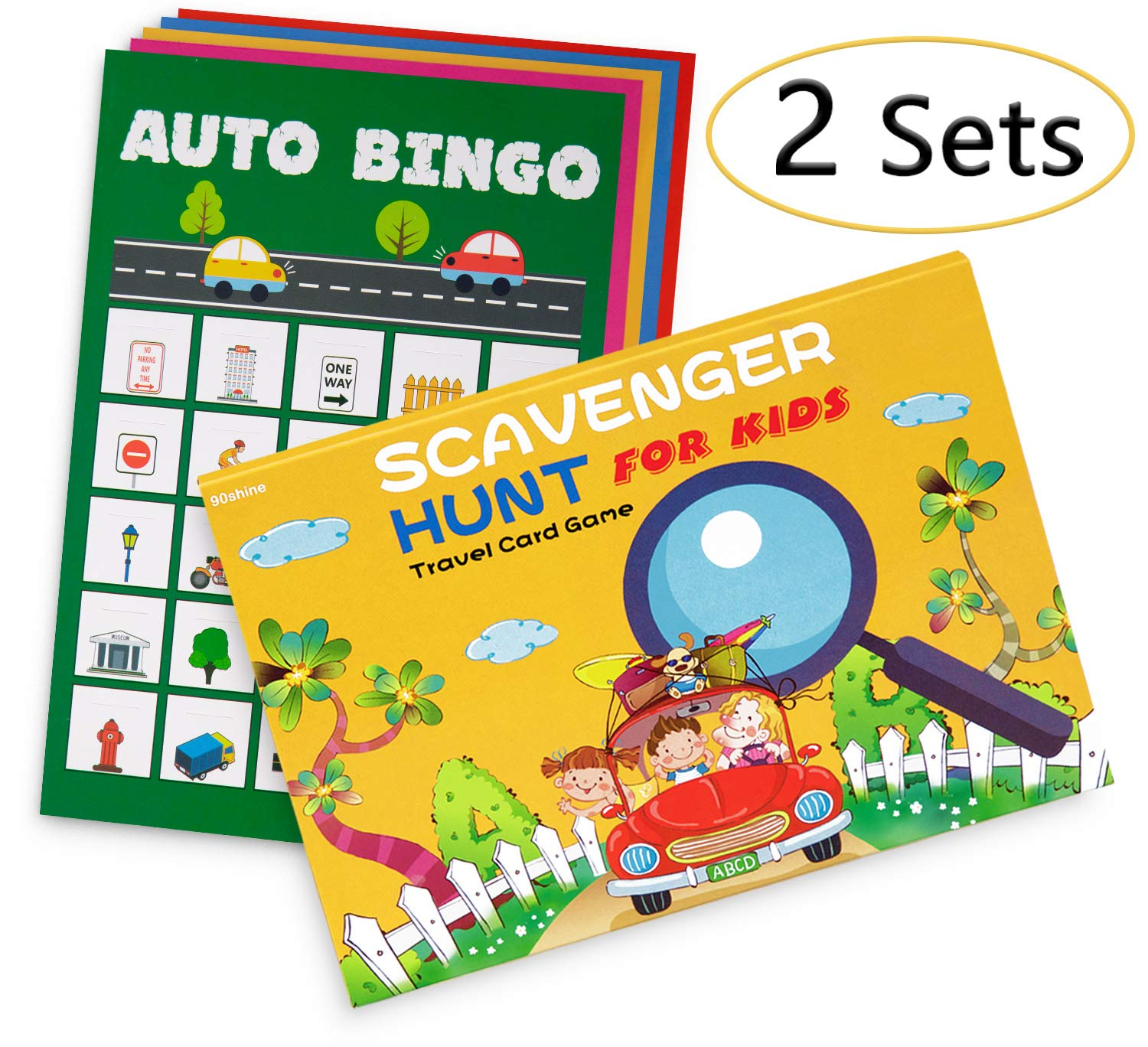 2 Sets Road Trip Card Games - Travel Scavenger Hunt and Auto Bingo - Fun for Kids Families by 90shine