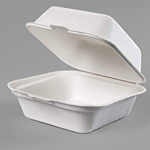 EarthChoice Biodegradable 6x6 Take Out Food Containers with Clamshell Hinged Lid 125 Pack. Microwaveable, Disposable Takeout Box to Carry Meals Togo. Great for Restaurant Carryout or Party Take Home