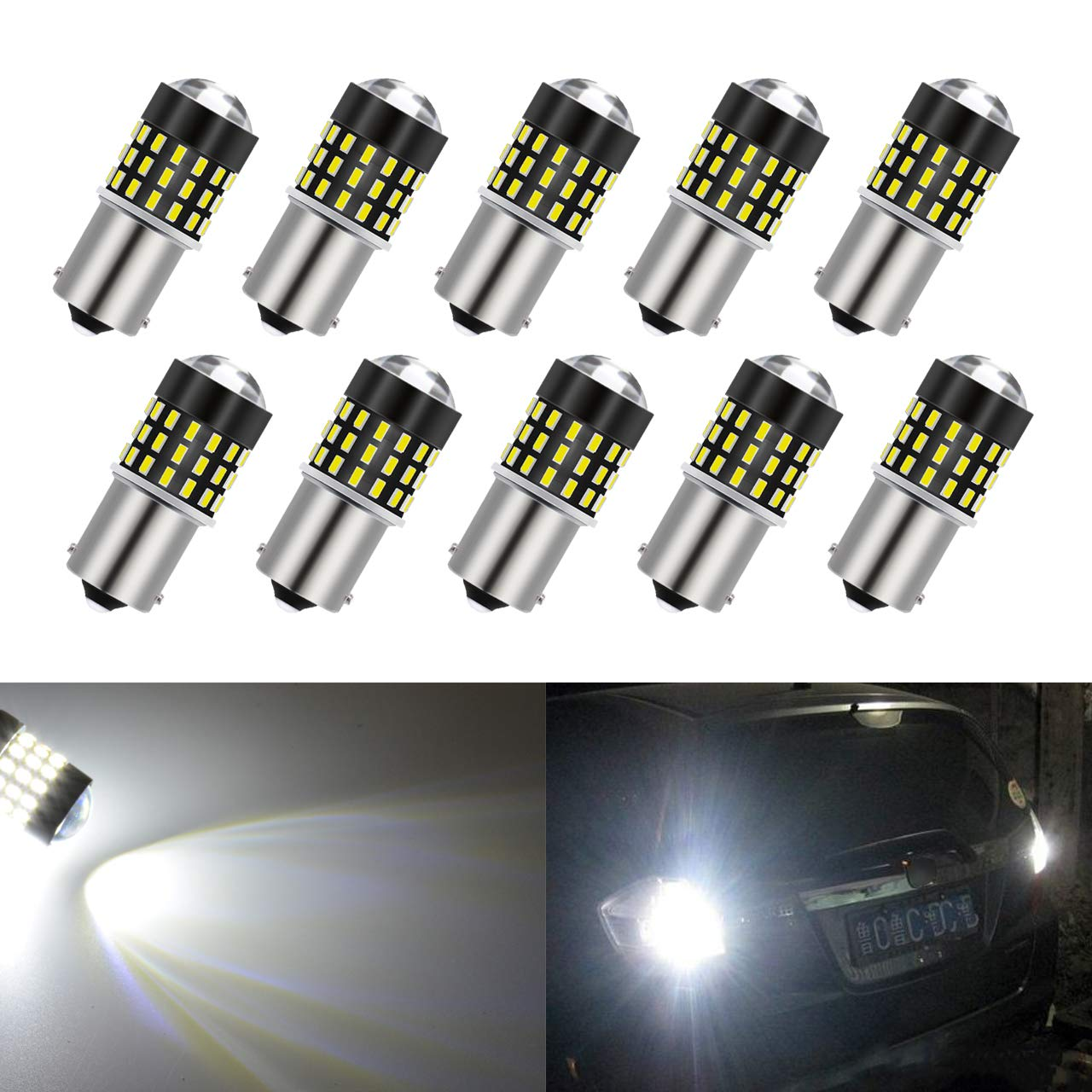 KATUR 2pcs Super Bright 3157 3047 3057 3057A 3155 3157A 3014 54SMD Lens LED Replacement Bulbs Turn Brake Signal Tail Back Up Stop Parking RV Lights 3.1W DC 12V White 2AM-CL-373-3157-White