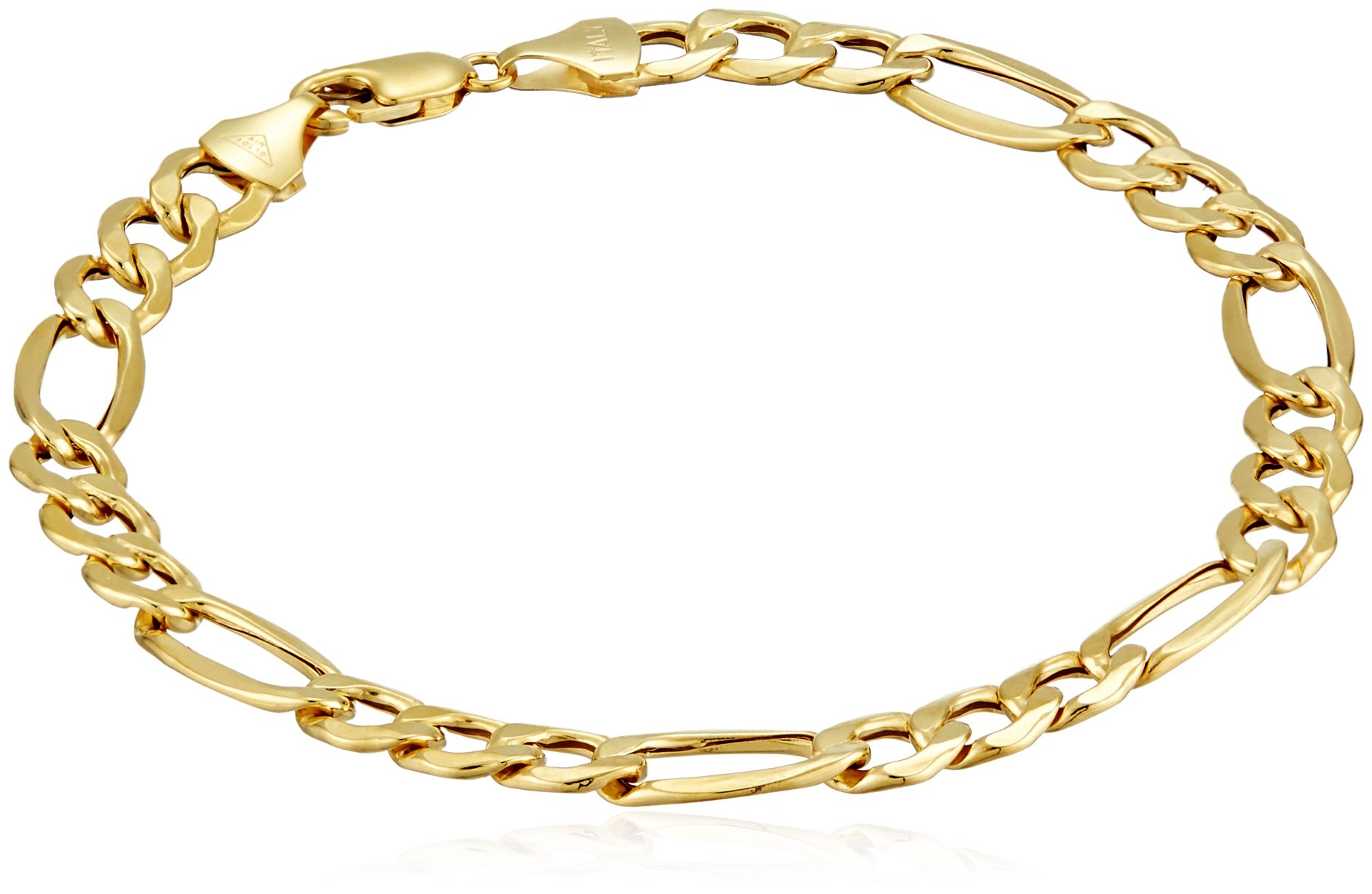 Men's 10k Yellow Gold Hollow Figaro Bracelet, 8.5'' (7.5 mm)