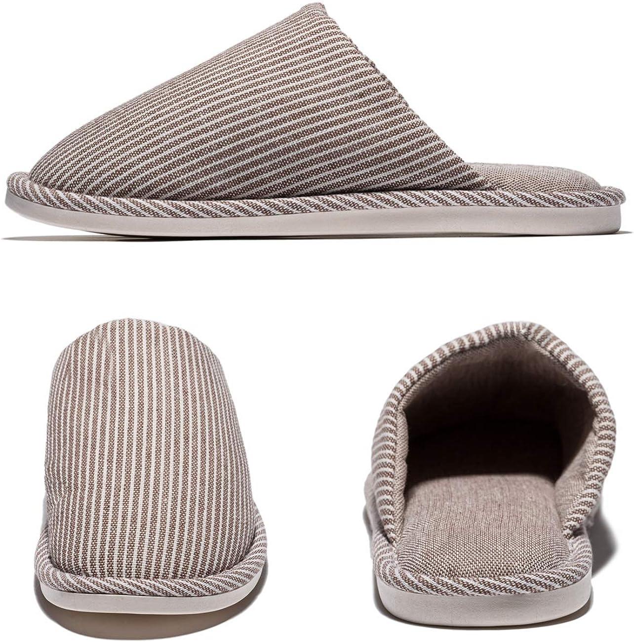 MAYI Pantoufles Chaudes en Lin et Coton pour Hommes Pantoufles dhiver /à Bout ferm/é pour Chaussettes antid/érapantes et /à Semelle Souple