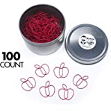 Butler in the Home Fruit Apple Shaped Paper Clips Great For Paper Clip Collectors or a Teacher Gift - Comes in Round Tin with Lid and Gift Box (Red 100 Count)