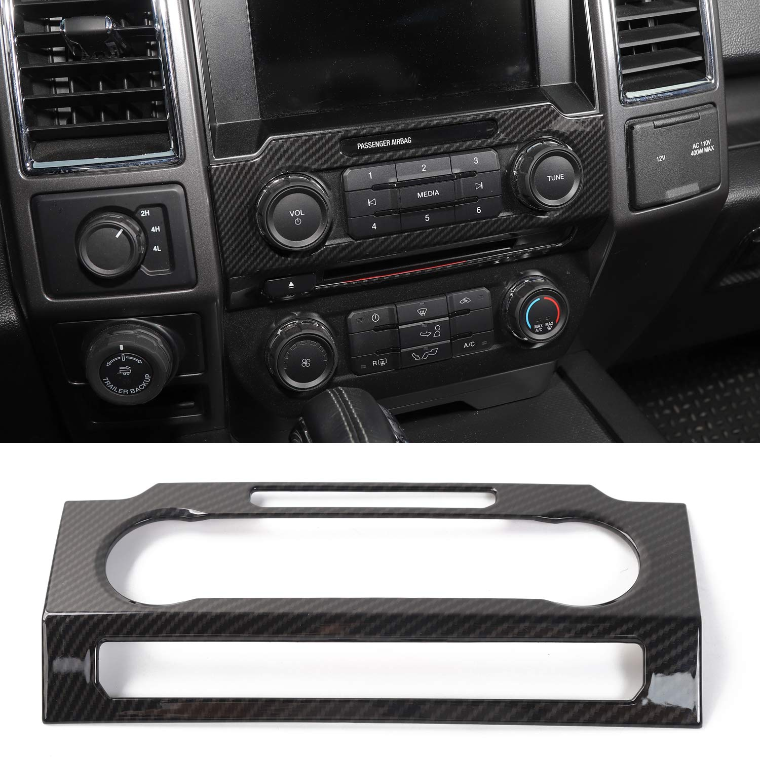 Voodonala Carbon Fiber Grain Central Control Volume Panel Decorative Trim for Ford F150 2015 2016 2017