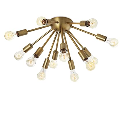 12 light sputnik chandelier brass flush mount ceiling light 12 light sputnik chandelier brass flush mount ceiling light modern fixture by brooklyn aloadofball