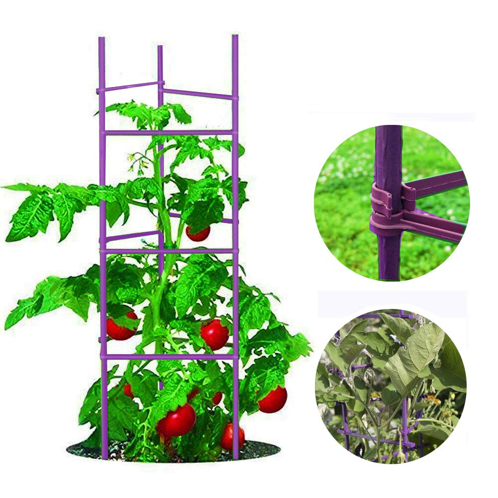 Growsun 4-Ft Garden Stakes Metal Plastic Coated Plant Cage Supports Climbing for Tomatoes,Trees,Cucumber,Fences,Beans,25 Pack