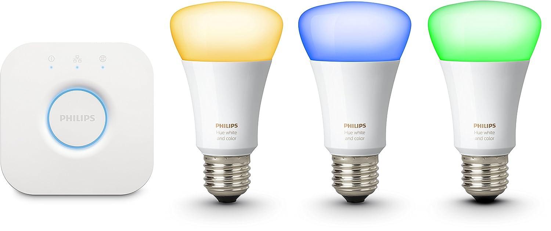Philips - Kit de démarrage - 3 ampoules Hue White and Color E27 + pont de connexion Hue