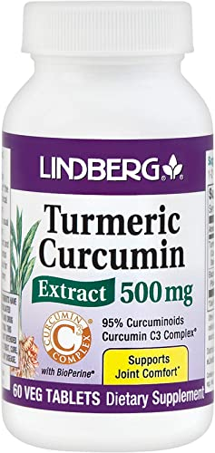Lindberg Turmeric Curcumin Extract 500 Mg C3, 60 Tablets – Standardized to 95 Curcuminoids Curcumin C3 Complex with Bioperine