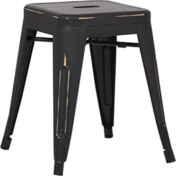 Poly and Bark Trattoria 18 Stool in Distressed Black EM-195-DIS-BLK