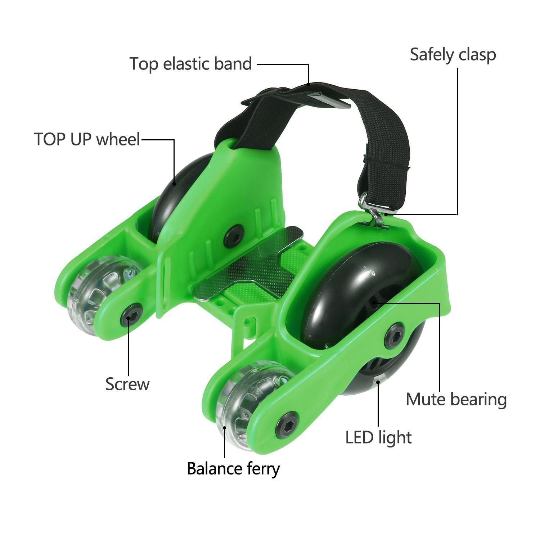 PAWACA Upgraded cuatro rodillos de ruedas patines de talón zapatos Scooters con luz intermitente y 200lbs/máxima de 100 kg límite para niños adultos, ...