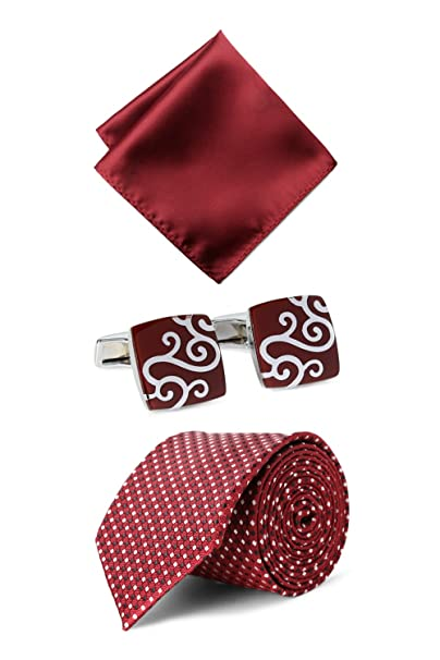 c2a518240b Van Heusen Maroon Tie Pocket Square And Cufflink  Amazon.in  Clothing    Accessories