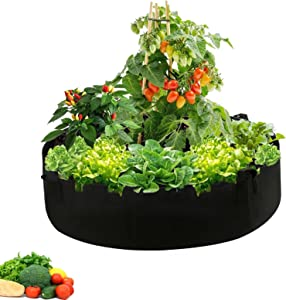 50 Gallon Large Grow Bags, Round Fabric Raised Planting Bed with 4 Handles Non-Woven Garden Veggie Grow Bag Fabric pots Planting Container for Herb Flower Vegetable Potato (50 Gallon)