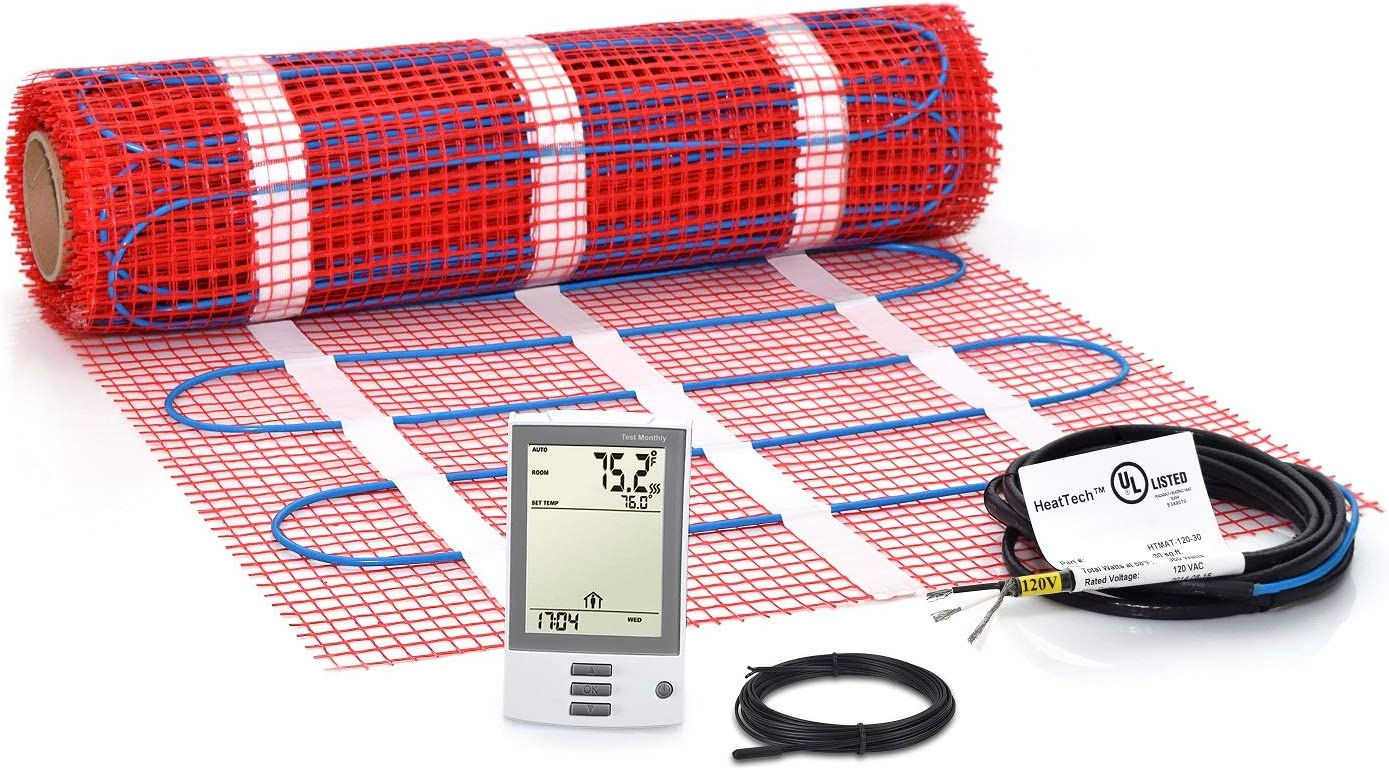 30 sqft Mat Kit, Electric Tile Floor Heating System with GFCI Programmable Thermostat and Floor Sensor, 120V