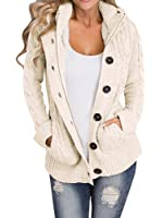 KOGMO Women's Cable Knit Sweater Cardigans with Buttons & Zipper ...