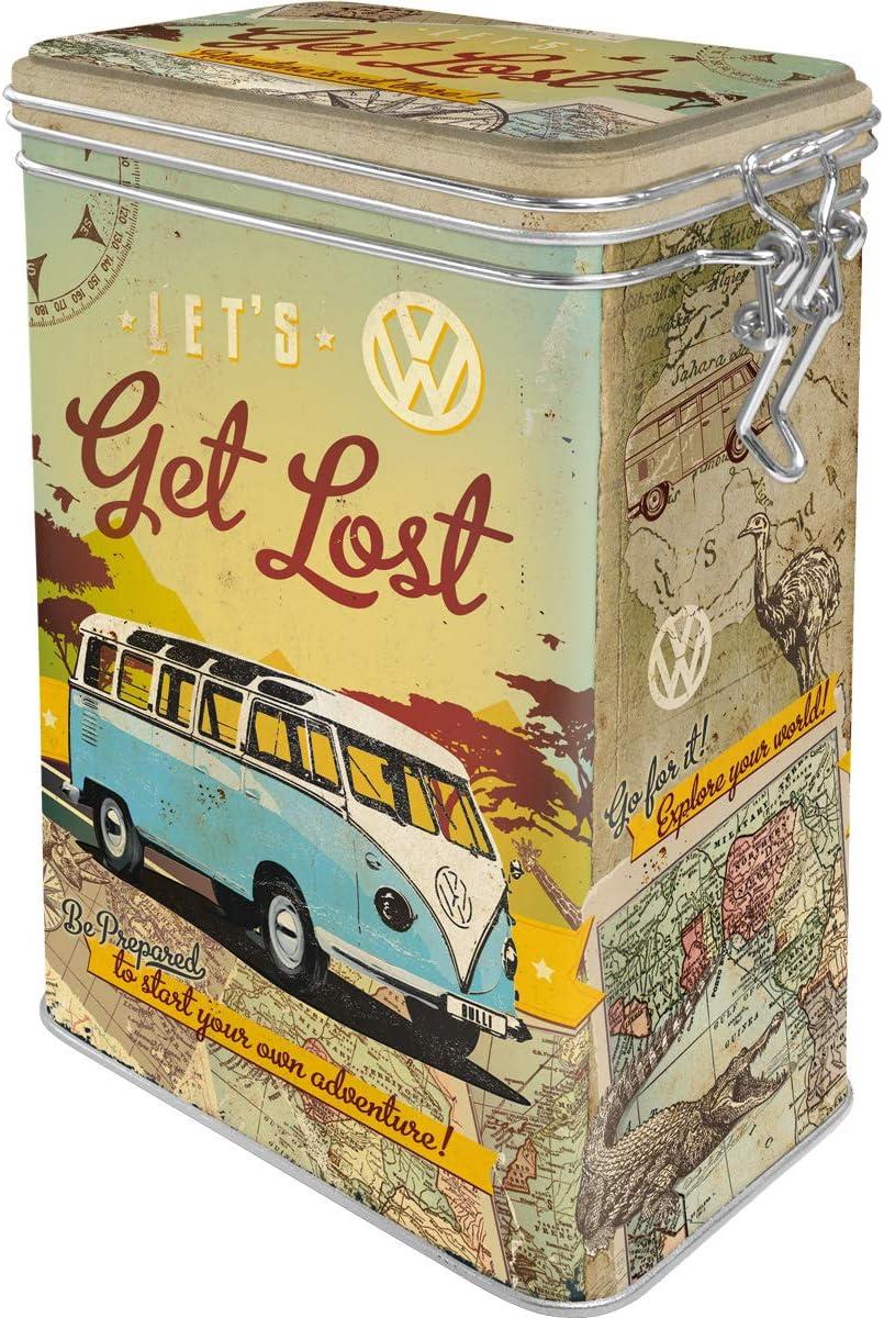 Vintage Design Nostalgic-Art Retro Kaffeedose Volkswagen Bulli VW Bus Geschenk-Idee Lets Get Lost Blech-Dose mit Aromadeckel 1,3 l