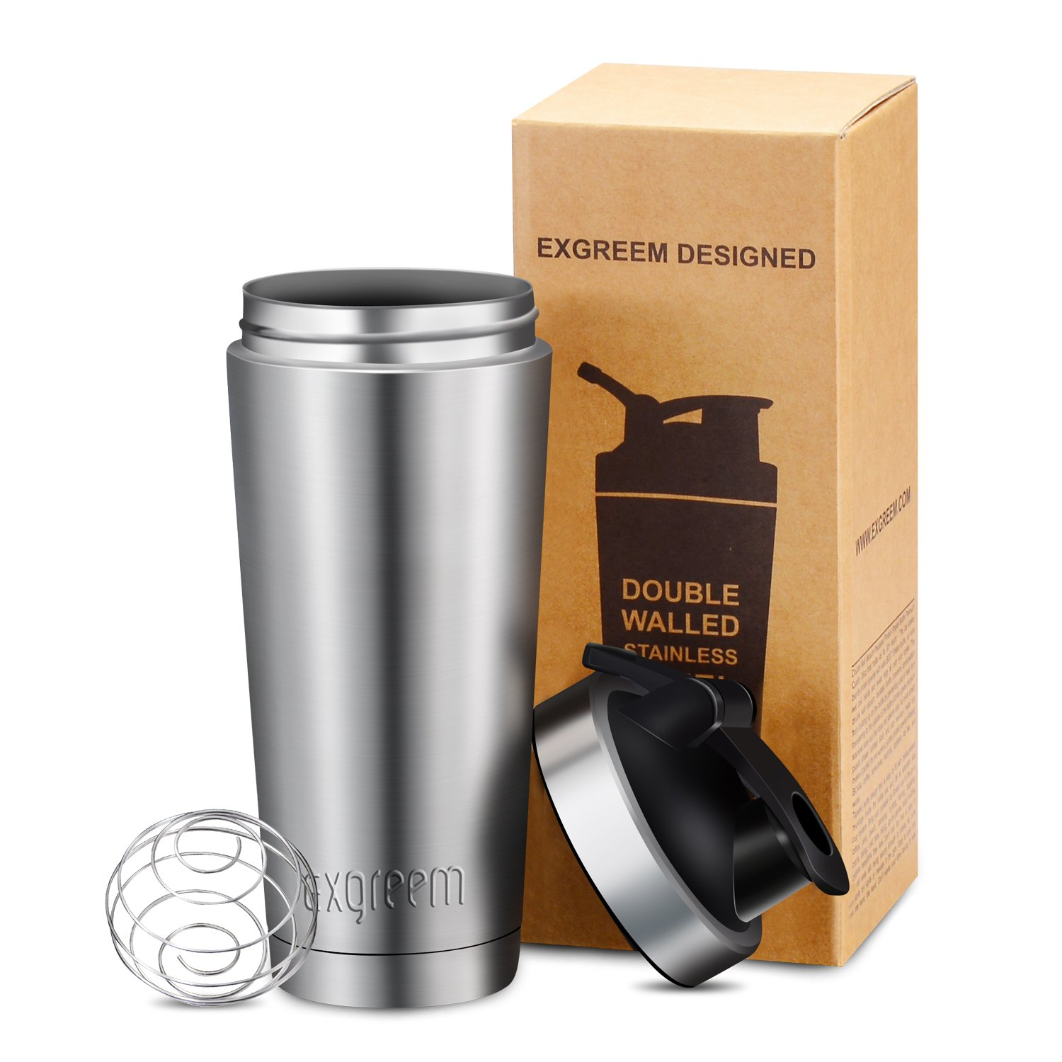 Shaker Bottle Exgreem 26oz Top Stainless Steel Insulated Water Bottle Protein Mixing cup - Holds Ice for more 30+ Hours (26 oz)