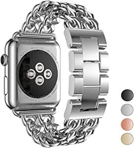 Seoaura Compatible Apple Watch Band 38mm 40mm, Stainless Steel Metal Cowboy Chain Style Replacement iWatch Series 6 5 4 3 2 1 SE Nike+ Sports Strap Wristband (Silver, 38mm/40mm)