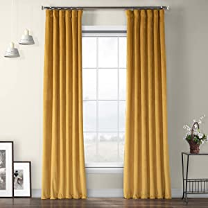 HPD HALF PRICE DRAPES VPYC-179760-108 Heritage Plush Velvet Curtain (1 Panel), 50 X 108, Aztec Gold