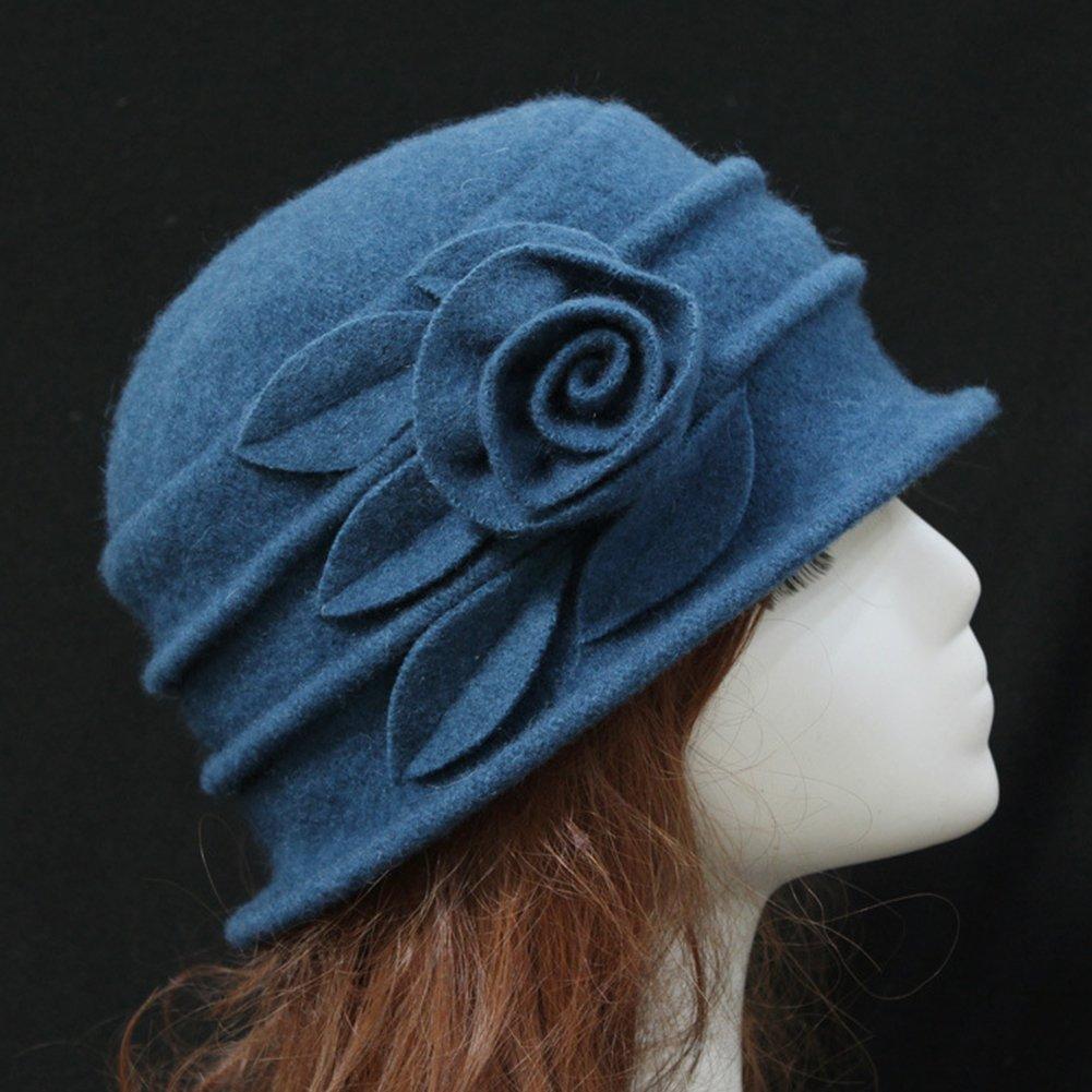 Women/'s Ladies Winter Vintage Elegant Wool Flower Felt Hat Cloche Bucket Cap