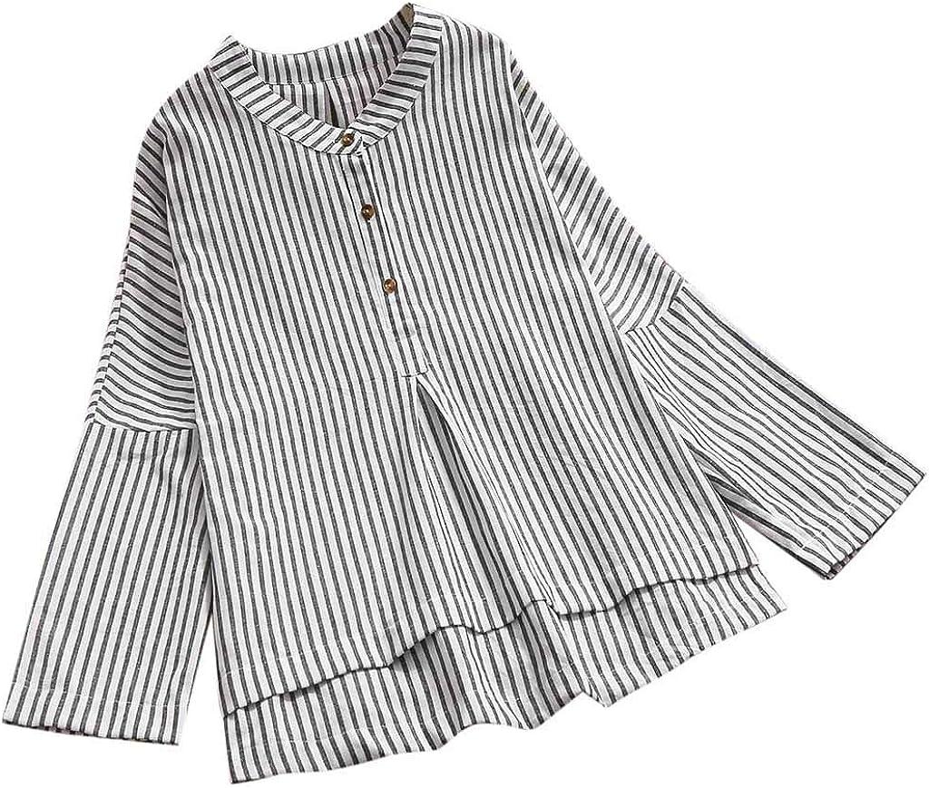 YBWZH - Camiseta de Manga Larga para Mujer, de algodón y Lino Blanco L: Amazon.es: Ropa y accesorios