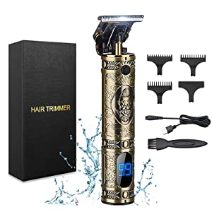 Hair Clippers for Men, LEALP Electric Pro Hair Clippers Cordless Rechargeable Hair Grooming Kits T-Blade Close Cutting Trimmer for Men Zero Gap Baldhead Beard Shaver Barbershop (Bronze)