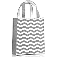 H&B Jute Bag - Gift Bag – Reusable Bags | Jute Bag for Lunch | Jute Lunch Bag | Tiffin Bag | Shopping Bag | Tote Bag | Totes | Handcrafted, Hand Printed - Sustainable Designs (Wave, Grey/Silver)