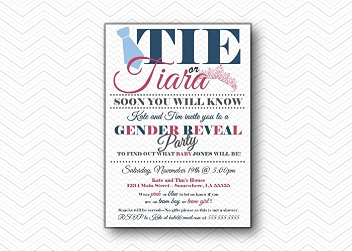 tie or tiara printed gender reveal party invitations baby shower invite 5x7