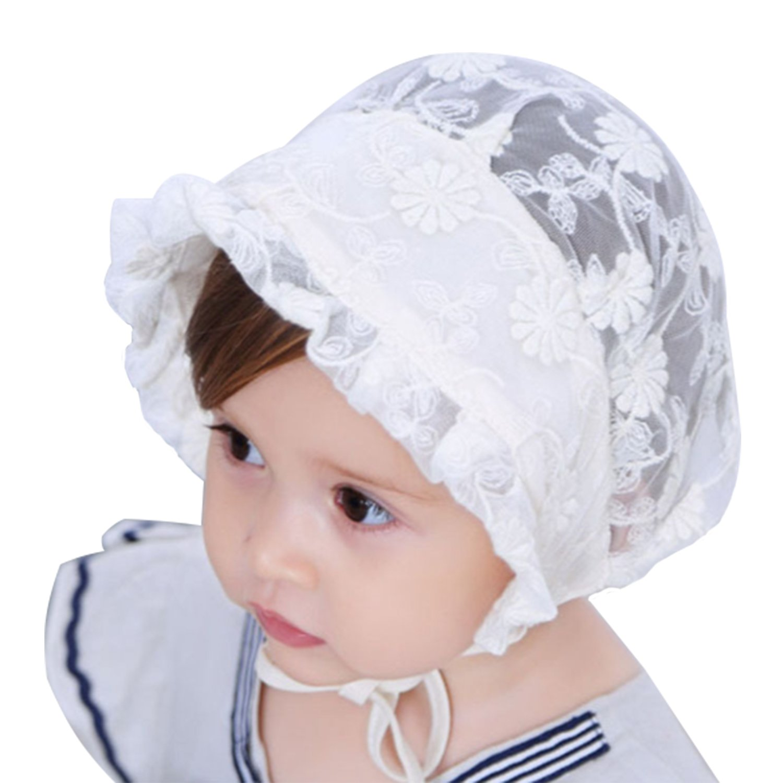 Tyidalin Bonnet Bébé Fille été Chapeau de Soleil Anti UV Princesse Coton Dentelle 0-24 mois