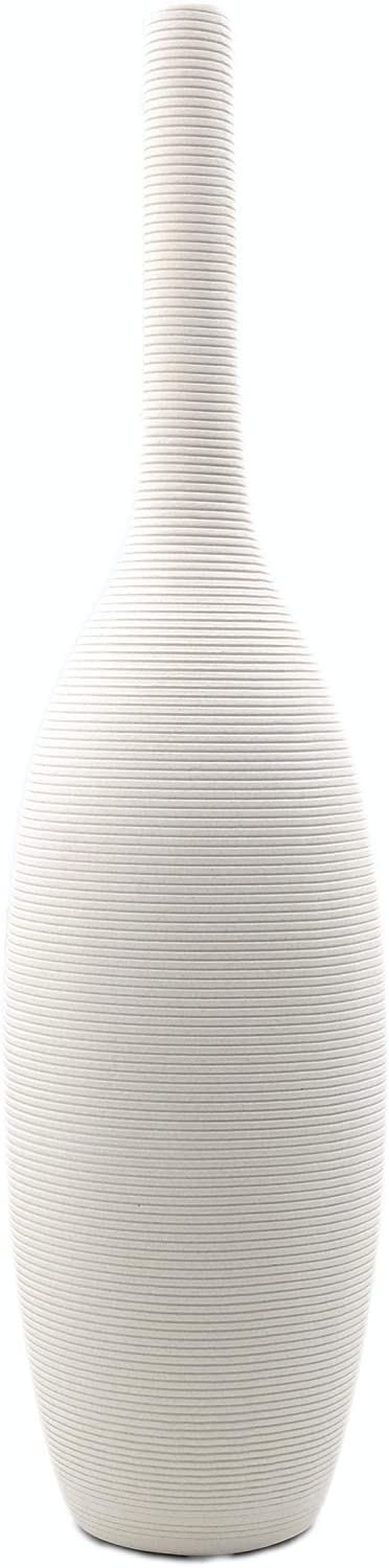 Alam's Large Ceramic Tall Vase for Flowers Home Decor | Modern White Vase|Decorative Vase|Flower Vase for Living Room, 14.8 inch