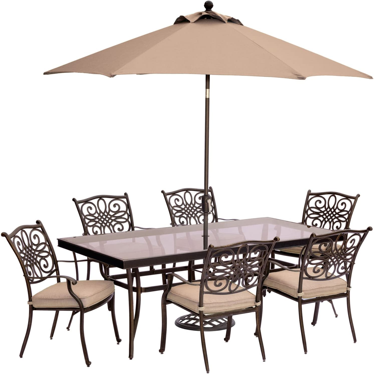 Hanover TRADDN7PCG-SU Traditions 7 Piece Dining Set in Tan with Glass-Top Dining Table, 9' Umbrella and Stand