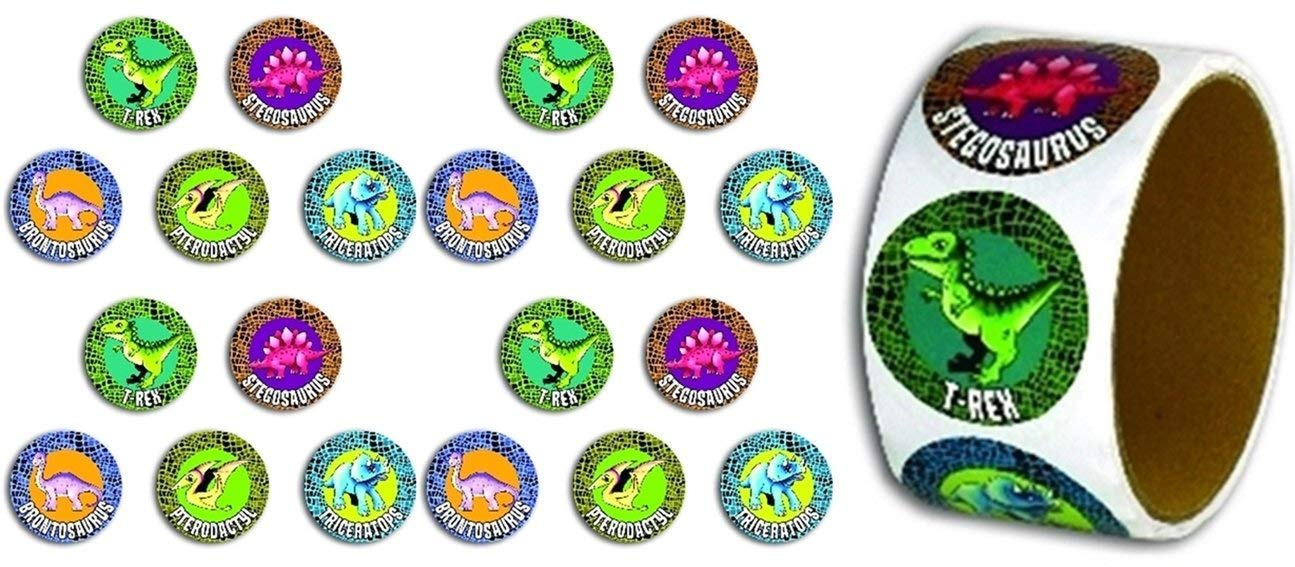 100 per roll with Dinosaur Names on Each toyco Pin Dinosaur Game Stickers Dinosaur Party Set Includes