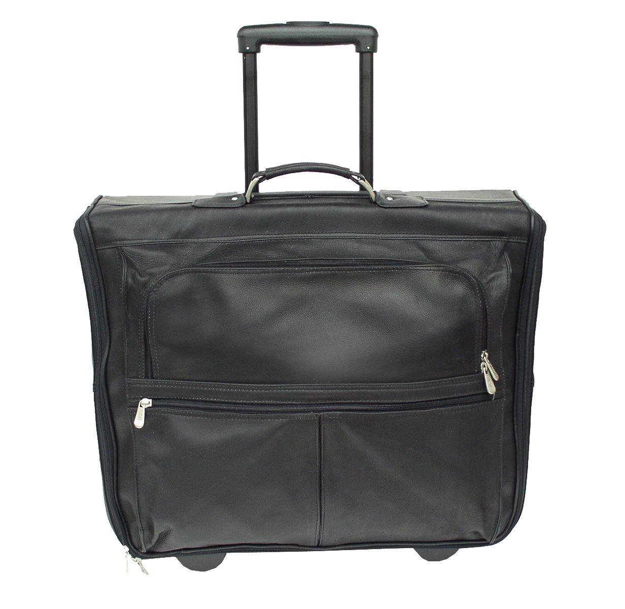 Piel Leather Traveler Garment Bag on Wheels in Black