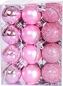 Yansanido 24pcs Small Christmas Ball 3cm/1.18'' Ornaments Shatterproof Small Christmas Decorations Tree Balls Multicolor Pastel Small Tree Ornaments Pendant (1.18 inch 24pcs Pink)