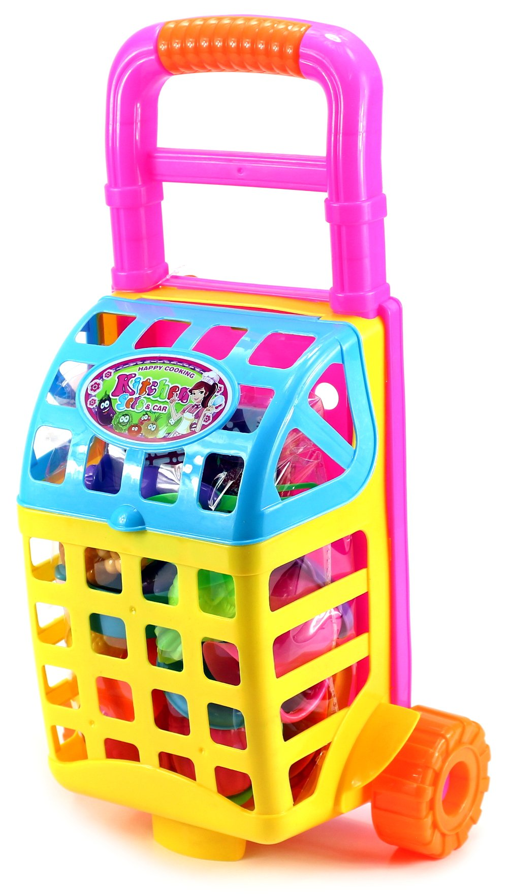 Happy Cooking Shopping Cart Children's Kid's Toy Food Play Set w/ Shopping Cart, Toy Stove, Utensils, Food (Colors May Vary)