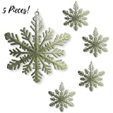 Large Snowflakes - Set Of 5 Gold Glittered Snowflakes - Approximately 12 Inches In Diameter -Two Asst Designs Snowflake Decorations - Snowflake Window Decor - Winter Decorations