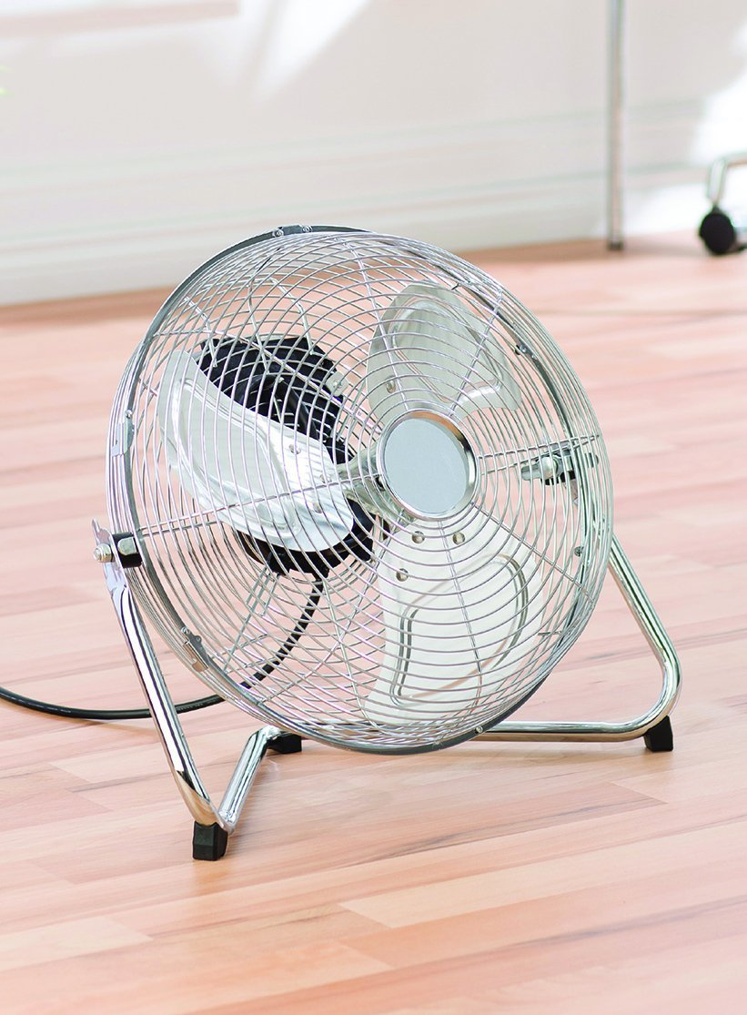 MP Essentials Chrome Metal High Velocity Cold Air Circulator Adjustable Floor Fan (14