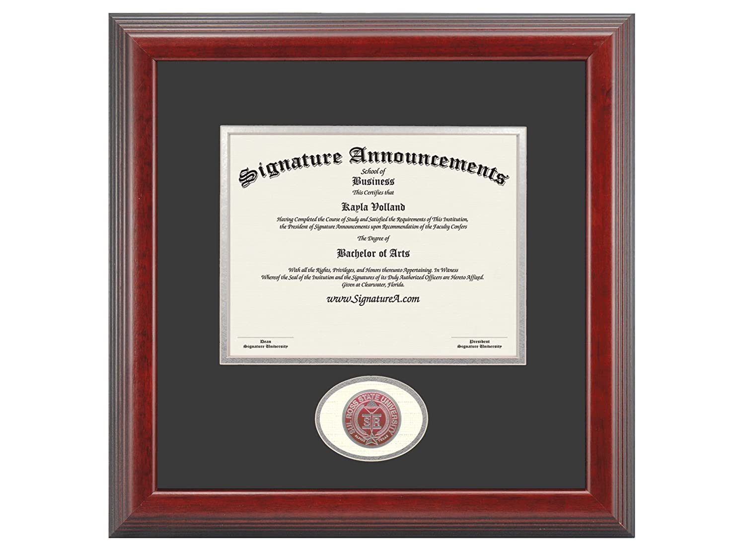 Signature Announcements Sul-Ross-State-University Undergraduate Professional//Doctor Sculpted Foil Seal Graduation Diploma Frame 16 x 16 Cherry