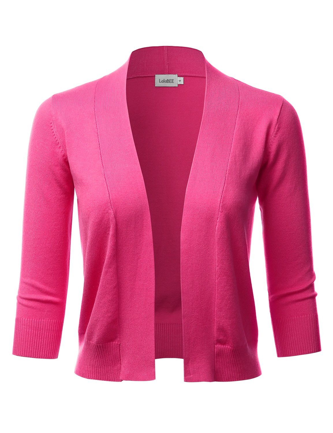 LALABEE Women's Classic 3/4 Sleeve Open Front Cropped Bolero Cardigan-Pink-M