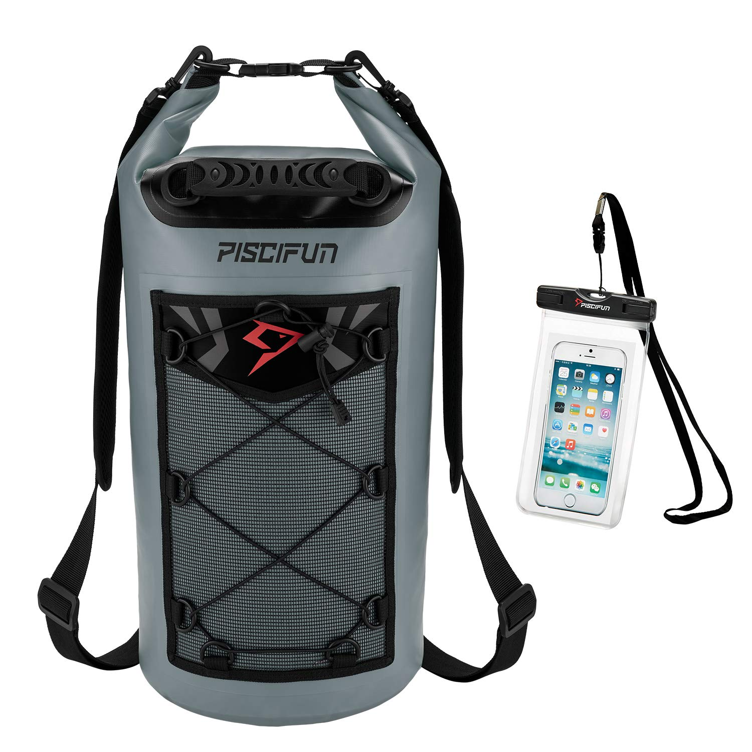 Piscifun Waterproof Dry Bag Backpack Floating Dry Backpack for Water Sports - Fishing Boating Kayaking Surfing Rafting Camping Gifts for Men and Women Free Waterproof Phone Case Grey 20L