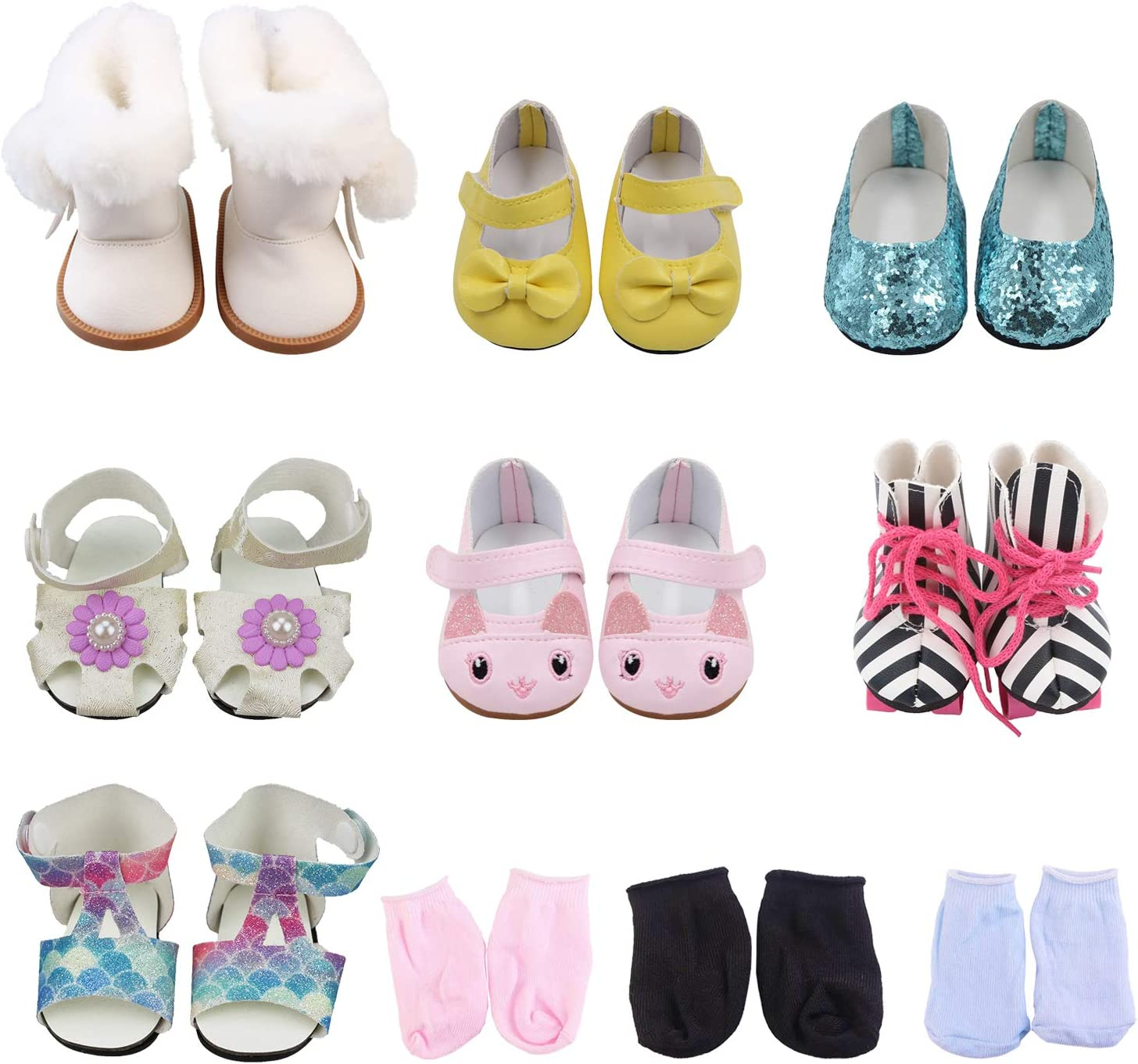 SOTOGO 7 Pairs of 18 Inch Doll Shoes and 3 Pairs of Socks Fits for American 18 Inch Girl Doll Include Boots Leather Shoes Sneakers