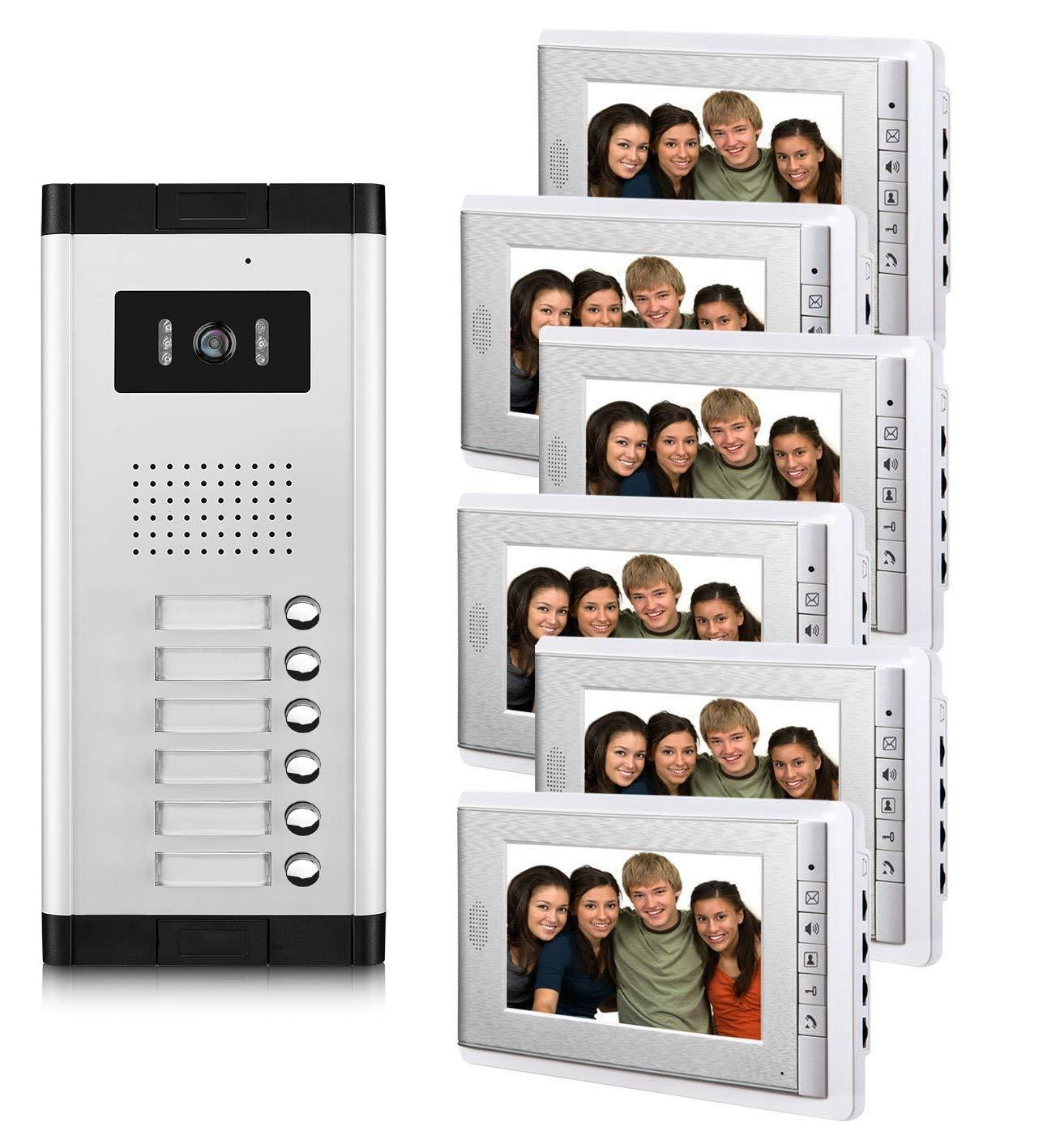 "AMOCAM 6 Household Apartment Video Intercom System, 7"" Monitor Wired Video Door Phone Kit, Can See Hear Video Doorbell Kits, Monitoring, Unlock, Dual Way Door Intercom, 1 PCS Camera 6 PCS Screen"