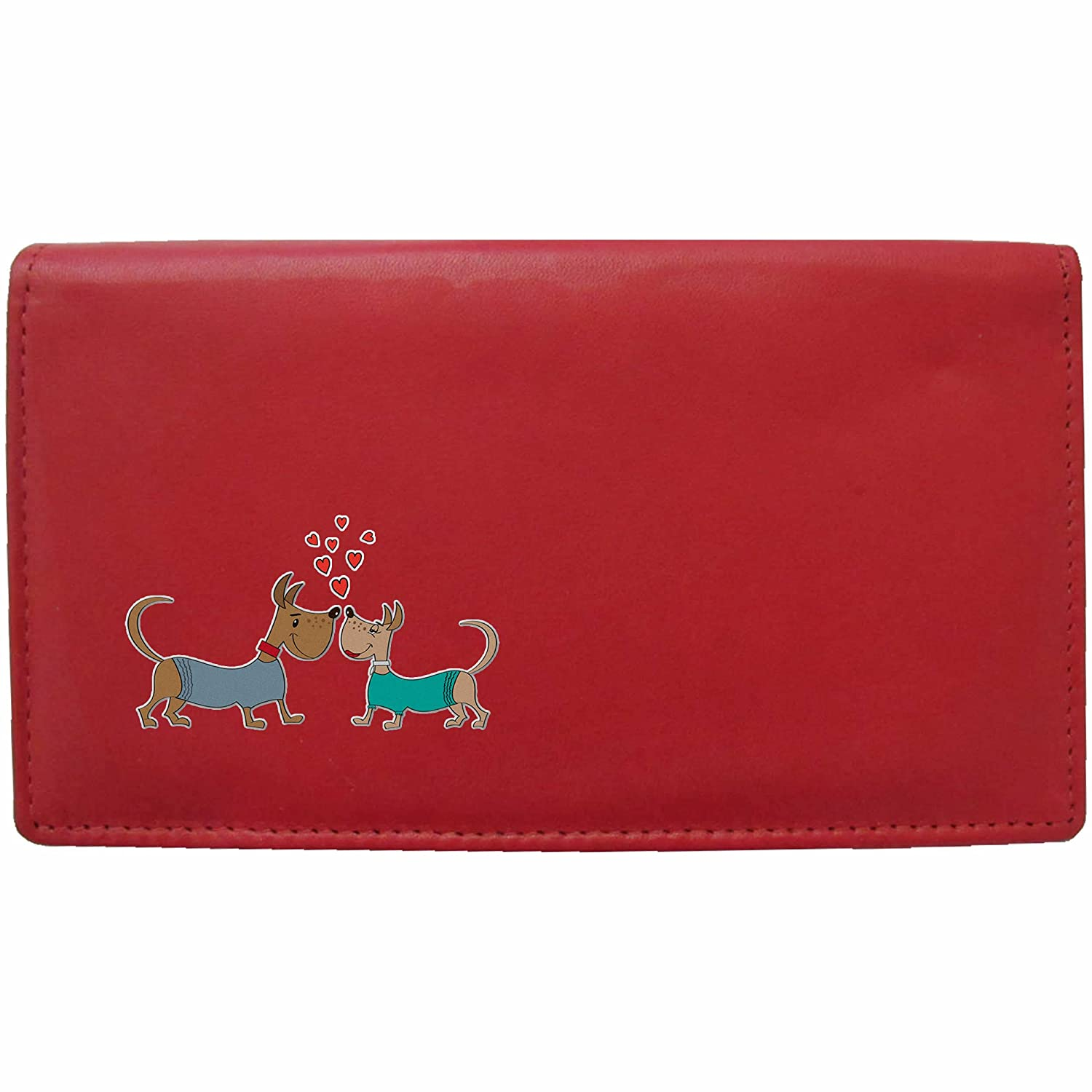 Love Dogs Klassek Real Leather Womans Purse Wallet small Dogs in love puppy Present Gift for her Wife Girlfriend (Black)