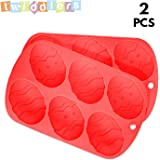 [2 Pack] Premium Quality Easter Egg Shape Silicone Bakeware Trays - Perfect mold for Cooking & Baking, Soaps, Cakes etc. Dishwasher, Oven/Microwave safe
