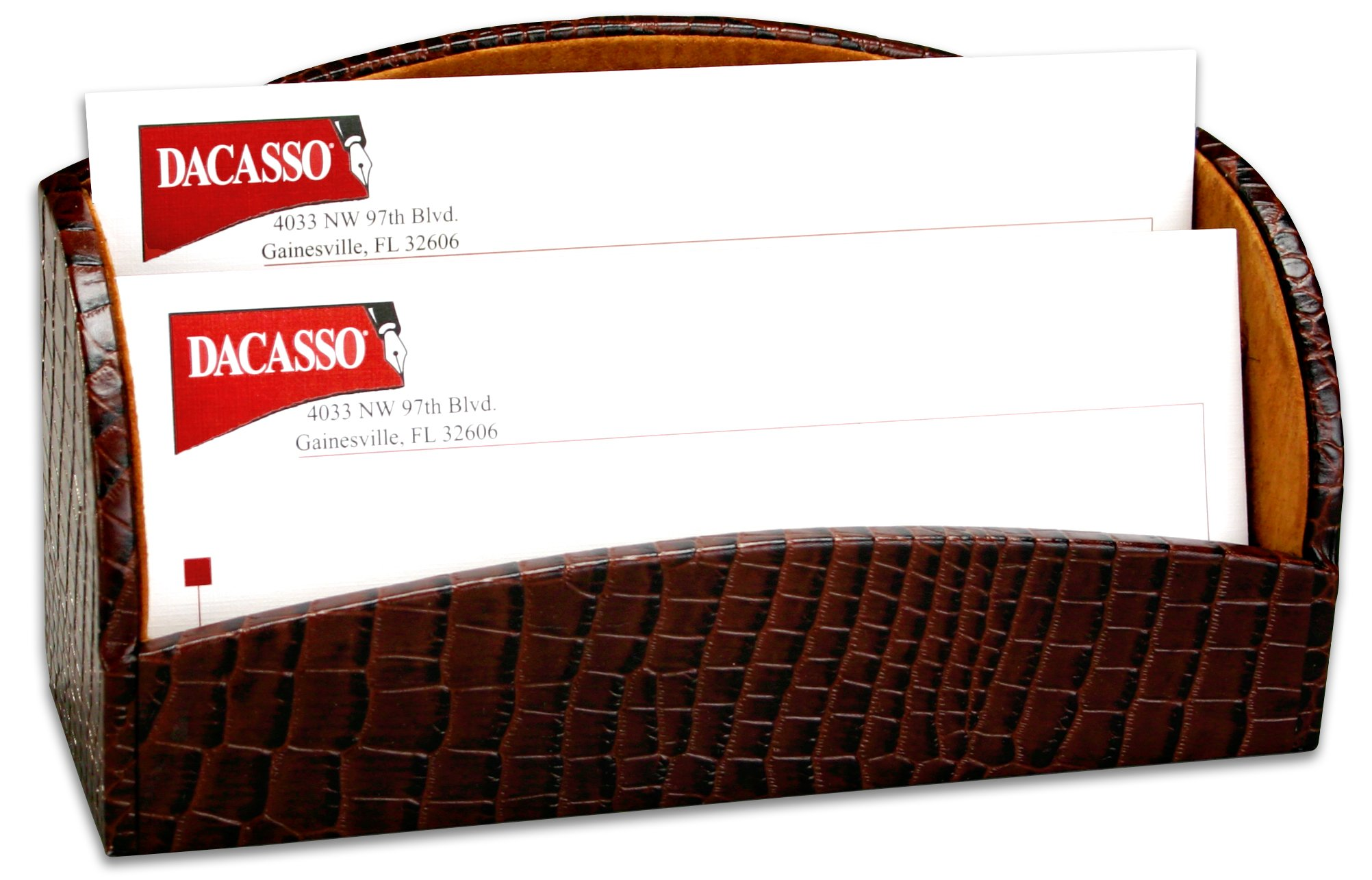 Dacasso Brown Crocodile Embossed Leather Letter Holder