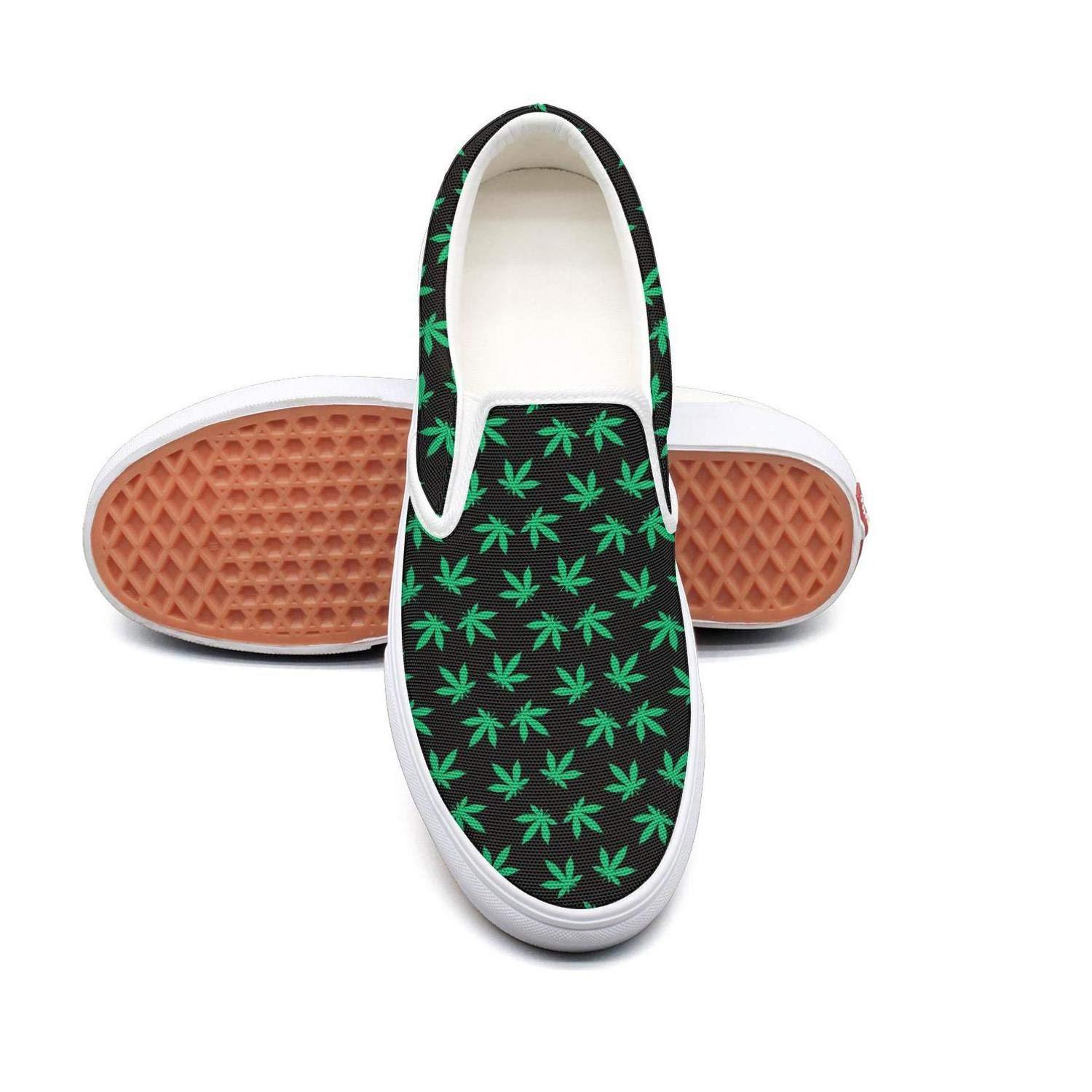 Sernfinjdr Women's Cannabis Leaf Fashion Casual Canvas Slip on Shoes Designer Cycling Sneaker Shoes